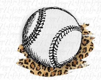 Baseball on Leopard Background Can Personalize SUBLIMATION Transfer Leopard Sports