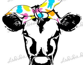 Peeps Hair Tie Cow Sublimation Transfer Pink Orange Yellow Blue Green Bandana
