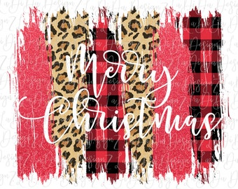 Merry Christmas Buffalo Plaid Red Glitter and Leopard Christmas PNG PDF Digital Download  Brush Strokes