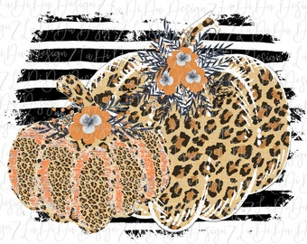 Fall Leopard and Orange Wood Look Black and White Striped Frame Pumpkin Floral Fall Sublimation Transfers PNG PDF Digital Download