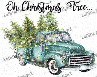 Vintage Blue Christmas Tree Truck Lights Sublimation Transfers Oh Christmas Tree Snow