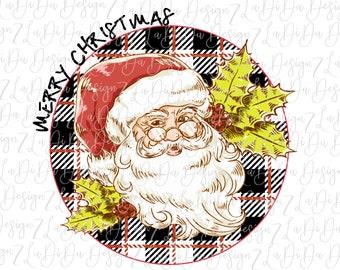 Merry Christmas Retro Santa on Round Black White Red Plaid  -  VINYL Transfer MaskHTV Iron On  Holly Santa Wearing Glasses