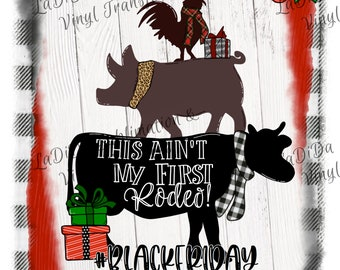 This Ain't My First Rodeo #BlackFriday Framed Plaid Sublimation Transfers - Plaid Cow Pig Rooster Plaid Houndstooth Leopard