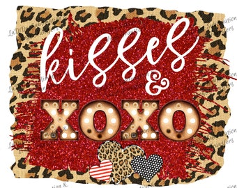 Kisses & XOXO Marquee Leopard and Red Glitter Heart PNG PDF Digital Download Glitter Dots