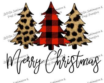 Merry Christmas Trees Leopard Buffalo Plaid  VINYL Transfers Christmas Leopard Red Plaid  with MaskHTV HTV  Iron On