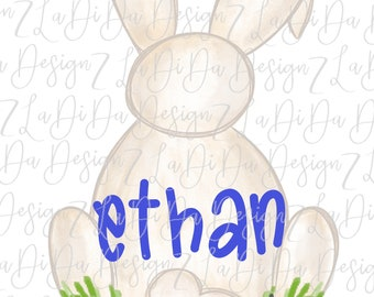 Personalized Watercolor Bunny Tail SUBLIMATION Transfer Name Boy Blue