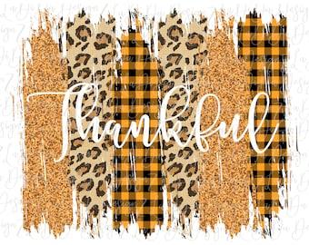 Thankful Glitter Brush Strokes Orange and Leopard PNG Digital Download Orange Plaid Glitter Look Thanksgiving