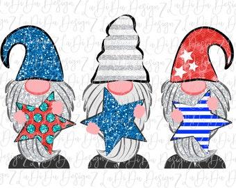 4th of July Patriotic Gnomes Holding Stars  Sublimation Transfers - Stars Stripes Polka Dots Glitter