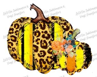 Leopard Candy Corn Distressed Floral Fall Pumpkin PNG PDF Digital Download Black Orange Yellow