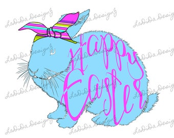 Happy Easter Bright Blue Bunny Rabbit with Striped Hair Tie Sublimation Transfers Bright Pink