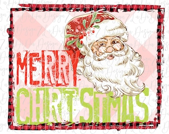 Merry Christmas Stamped Retro Vintage Santa Glasses Pink and Buffalo Plaid Background SUBLIMATION Transfers Red Green Holly