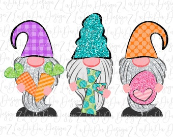 Easter Gnomes Holding Carrots Cross and Egg Sublimation Transfers - Blue Glitter Check Polka Dots