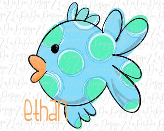 Personalized Polka Dot Fish Colorful SUBLIMATION Transfer Colorful Blue, Green, Orange Name Boy