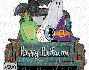 Happy Halloween Witch Hat Ghost Eye Ball Potion Bat in a Truck SUBLIMATION Transfers Spooky