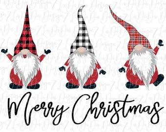 Merry Christmas Christmas Plaid Gnomes SUBLIMATION Transfers - Buffalo Plaid Black White Plaid Christmas Plaid Silver Glitter Beards