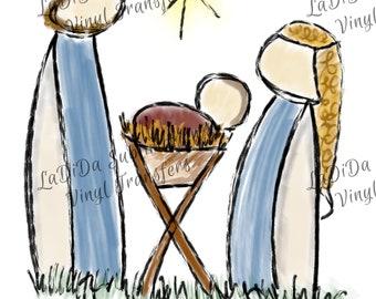 Unto Us A Child Is Born Nativity Scene Watercolor VINYL Transfers Christmas Joseph Mary Baby Jesus Manger  with MaskHTV HTV  Iron On