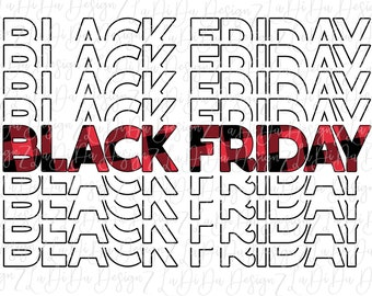 Black Friday Buffalo Plaid Shopping SUBLIMATION Transfers Red Black Plaid Stacked Repeat