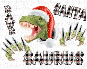 Santa Saurus Rawr Dinosaur Christmas Black White Plaid SUBLIMATION Transfer