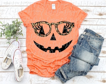 Fall Pumpkin Face Wearing Leopard Glasses SUBLIMATION Transfers - Lashes Leopard Jack O Lantern