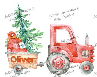 Personalized Watercolor Red Tractor Pulling Load of Presents and Christmas Tree Sublimation Transfers Wood Santa Sack