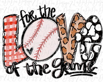 For The Love Of The Game Baseball Hand Drawn Watercolors SUBLIMATION Transfer Colorful Polka Dots Leopard Check Heart