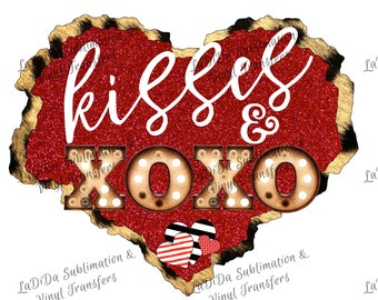 Kisses & XOXO Marquee Leopard Furry and Red Glitter Heart PNG PDF Digital Download Stripes Glitter Dots