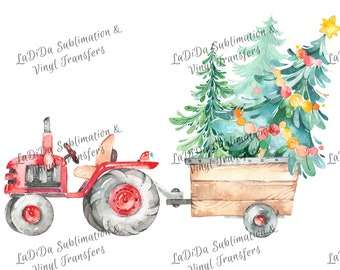 Watercolor Red Tractor Pulling Load of Christmas Tree Sublimation Transfers Wood Trees Star