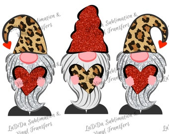 Valentine Gnomes Holding Leopard and Red Glitter Hearts Sublimation Transfers - Red Silver Leopard Glitter