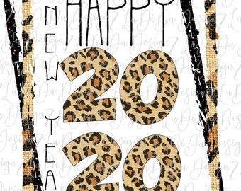 Happy New Year 2020 Leopard and Black Speckles DIGITAL PNG File and Transparent File Frame