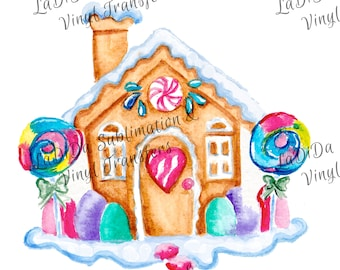Gingerbread House Rainbow Lollipops Sublimation Transfers Candy Snow Suckers