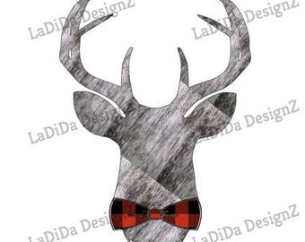 Buck Deer Antlers Bowtie Sublimation Transfers  - Christmas Perfect for Men
