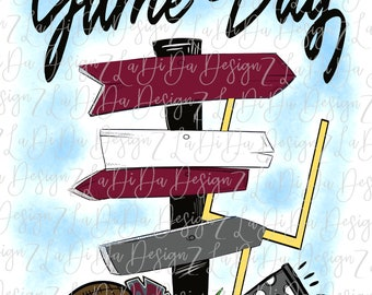 Game Day Maroon Grey Direction Signs PNG Digital Download Tailgate Football Megaphone Pom Pom Goal