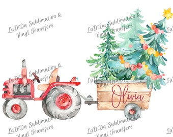 Personalized Watercolor Red Tractor Pulling Load of Christmas Tree Sublimation Transfers Wood Trees Star