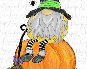Gnome Sitting On A Pumpkin SUBLIMATION Transfers Spider Broom Witch Hat