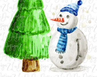 Watercolor Snowman and Christmas Tree with Hat and Scarf PNG Digital Download Boy