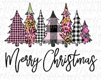 Merry Christmas Trees All Pink SUBLIMATION Transfers Plaid Leopard Check Pink