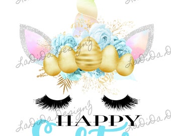 Happy Easter Unicorn Eggs Sublimation Transfer Pink Blue Rainbow Eyelashes Flowers Bunny Ears