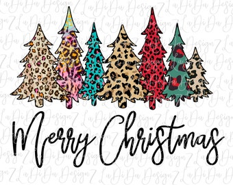 Merry Christmas Trees All Leopard VINYL Transfers with Mask HTV Iron On   Red Blue Green Pink Leopard
