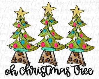 Oh Christmas Tree Three Trees with Stars and Leopard Tree Trunk   - VINYL Transfer MaskHTV Iron On - Hand Drawn