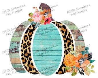 Leopard Wood Look Frame Pumpkin Fall Sublimation Transfers PNG Digital Download Flowers