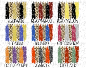 Glitter and Leopard Brush Strokes Team Colors PNG PDF Digital Download Sports School Set of 10 Backgrounds