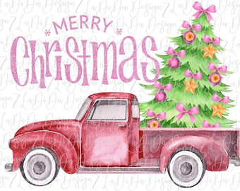 Merry Christmas Vintage Truck with Christmas Tree in Back SUBLIMATION Transfers  Pink Orange Bows   Pink Glitter LOOK Words