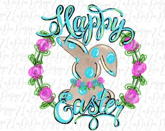 Hand Drawn Happy Easter Bunny in Roses Wreath PNG Digital Download Polka Dot Flowers Blue Green Pink Hand Drawn