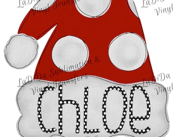 Personalized Watercolor Kids Santa Hat VINYL Transfers Christmas Red Polka Dots Girl  with MaskHTV HTV  Iron On
