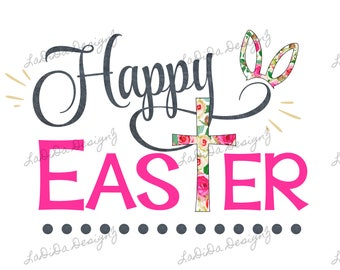Happy Easter Cross Floral, Black and Pink Sublimation Transfers Rabbit / Bunny Ears Floral