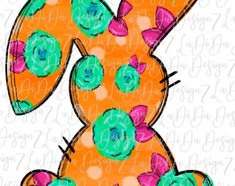 Floral Orange Bunny SUBLIMATION TRANSFER Hand Drawn Pink Green Flowers Bunny Ears Polka Dots