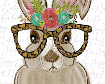 Easter Bunny Wearing Leopard Glasses Flowers Watercolors SUBLIMATION Transfer Floral Leopard