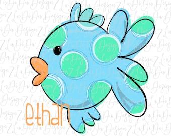 Personalized Polka Dot Fish VINYL Transfer Colorful Blue Green Orange Boy Name  MaskHTV HTV  Iron On