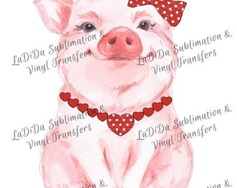 Don't Go Bacon My Heart Pig Sublimation Transfers Valentines Bow Red Glitter