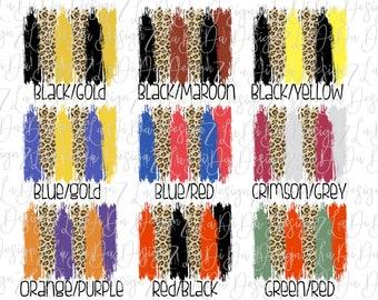 Leopard Brush Strokes Team Colors PNG PDF Digital Download Sports School Set of 10 Backgrounds